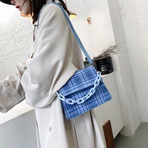 Plaid Color Women Shoulder Messenger Bag Mini Ladies Ladies Chain Shoulder Messenger Bag Top-handle Handbag