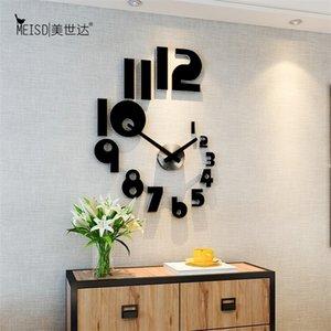새로운 크리 에이 티브 숫자 DIY 벽 시계 시계 현대 디자인 벽 시계 거실 홈 장식 아크릴 시계 벽 거울 스티커 LJ201211