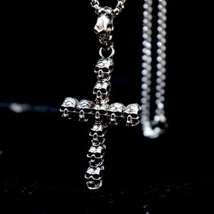 Collana punk d'argento antica Color Cross disegno del cranio di Cruz collana For Men Boy Hip Hop Jewelry Homme