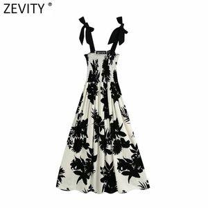 siyah yapraklar elastik sapan keten midi şık kadın yay bağladı kayışı elbise yazdırmak bağbozumu Zevity kadınlar rahat elbiseler DS4151 havalandıran