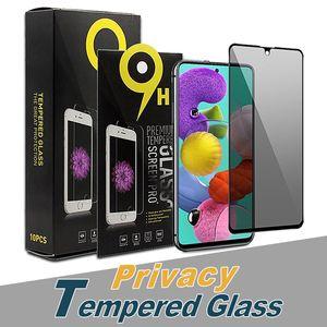 Protezione anti-spia per iPhone 12 Pro Max 11 XS Max Privacy Vetro temperato per Samsung Nota 20 A71 A21S con pacchetto al dettaglio
