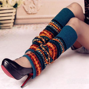 Print 1pair Women Boot Socks Knee High Bohemia Knitted Shoes Accessories Multicolor Winter Gaiters Stockings