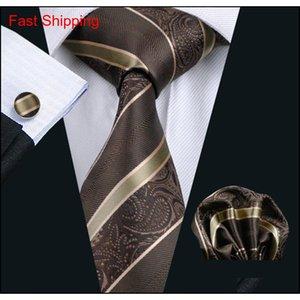 Brown Stripe Neck Tie Set Pocket Square Gemelos Jacquard Tejido Formal Mens Seda Tie Trabajo MEETIN QYLPXM Queen66