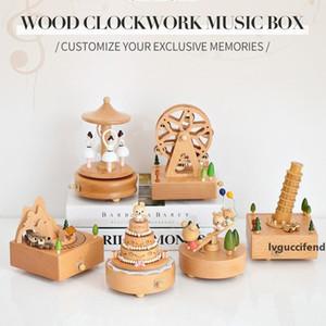 Musical Holzkisten Uhrwerk Craft Mädchen-Geburtstags-Geschenk kleiner Zug Schloss Riesenrad Form Musical Box Hauptdekorationen