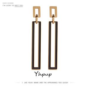 YHPUP Mode Platz Emaille Baumeln Edelstahl Schmuck Charm Ohrringe für Frauen 2021 Gala Geschenk