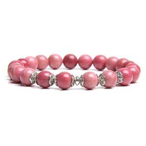 Natural Rhodochrosite Bracelets Women Fashion Flower Alloy Charm Bangle 8 mm Polished Gem Stone Beads Bracelets For Men Jewelry