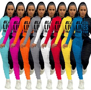 Women Tracksuit Black Lives Matter Letters Long Sleeves Hooded Tops Fleece Pleated Pants Leggings Winter Thickened Sports Suit S-2XL D102102