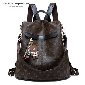 Противоугонные водонепроницаемые женские рюкзак Panda Pattern с медведя на молнии рюкзак леди PU кожаные женщины путешествия сумки на плечо женщины