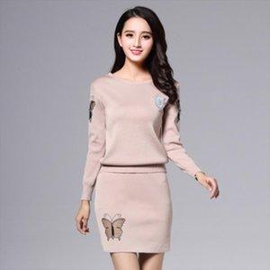 2020 Spring Autumn New Sweater Print Butterfly 2 Piece Set Women Crop Top And Skirt Set Knitted Skirt and Pullover
