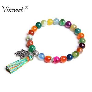 Charm Bracelets Natural Stone Women Hand of Fatima Hamsa Bracelet for Girls Tassel Femme Jewelry