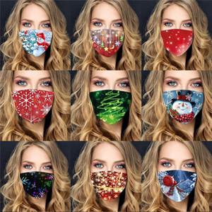 maschera di Buon Natale moda stampata maschere per il viso di polvere alla polvere foschia ragazze dei ragazzi di sport all'aria aperta lavabile traspirante nero maschera facciale rosso