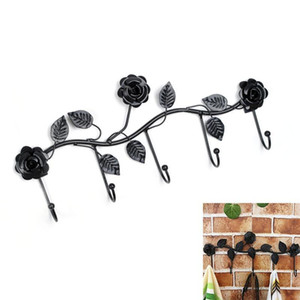 New Iron Hook Rack with 5 Hooks Bathroom Over the Door Hanger for Towel Coat Clothes Hat Bag Rose Shaped Hanging Iron Rail