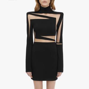 Balmain один кусок платья Wrap хип марли Мозаика перспектива сексуальные женщины одевают Street Style Короткое черное белое платье с логотипом Balmain