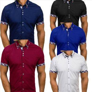New Fashion Mens Tops Tee Shirt Slim Fit Short Sleeve Plaid Print Casual Collar Shirt Black White Blue Wine Red