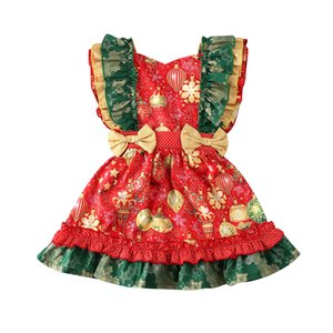 Xmas Toddler Kid Baby Girls Dress 0-3Y Print Ruffles Christmas Pageant Bow A-Line Dress Princess Clothes