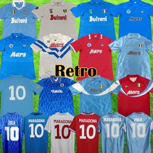 1987 1988 Napoli rétro Soccer Jerseys 87 88 Coppa Italia SSC Napoli Maradona 10 Vintage Calcio Napoli Kits Classic Vintage Footba Napolitain