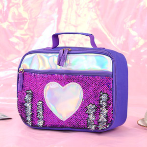 Fashion Sequin Kid Lunch Bag Aluminum Foil Thermal Insulated Lunch Bag Portable Outdoor Picnic Lunch Box Food Storage Tote Box PPD3400