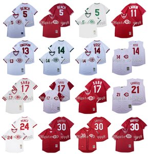 Vintage Cincinnati Jersey Pete Rose Ken Griffey JR Johnny Banco Barry Larkin Chris Sabo Dave Deion Sanders Perez Concepcion Retro baseball