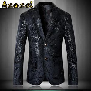 Azazel Blazers Men High Quality Velvet Printed Single Breasted Prom Man Blazers Plus Size 4xl 5xl Fashion Casual Men's