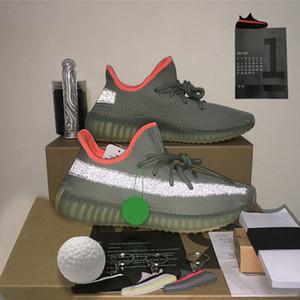 2021 Qualité de la queue de queue Kanye West V2 Running Shoes Chaussures Cinder noir Statique Hommes réfléchissants Femmes Sports Sneakers Ash Petiers Entraîneurs Accessoire