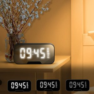 G5 Wireless Bluetooth 5.0 Loudspeaker Alarm Clock Radio with Mirror LED Dimming Display Sn Supports TF Card o Speaker