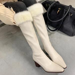 Осенью и зимние толстые корты плюс бархатные теплые моды на колено рыцаря ботинки Trend сексуальные универсальные женские туфли