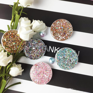 Universal Glitter Bling Cell Phone Holder Real 3M glue Grip Gypsophila Stand 360 Degree Finger Mobile Holder for iphone samsung HTC huawei