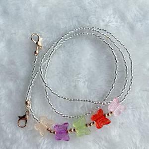 Freeanti-Perdió la máscara Cuerda Mascarilla Mascarilla Color Lanyard Color Butterfly Glass Beads Mask Cadena 8 Estilos YYS2920DHL