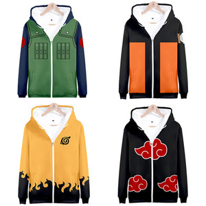 Naruto Cosplay Hoodie Sweatshirt Anime Hooded Jacket Coat Clothing Jiraiya Kakashi Itachi Uchiha Akatsuki Costume Clothes 201019