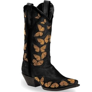 2020 New Winter Embroidery Cowboy Boots For Women Autumn Westerm Boots Retro Booties Women Ladies Shoes Botas Mujer
