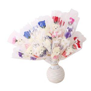SOBRE DE Oso oso Flor Oso Simulación Rose Rama Single Flor artificial para maestros Día de San Valentín Regalo Promoción Juguetes PPD3740