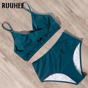 Ruuhee femme haute queue Bikini 2021 Léopard Solide Batsuit avec pad push up badmode femmes