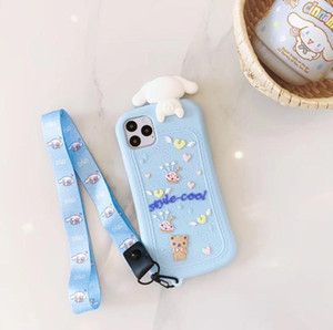 Anime Cute catoon Case For iPhone 12 SE2020 X XS Max Xr 8 7 6 6s Plus 11 pro max Silicone Cover with Keychain
