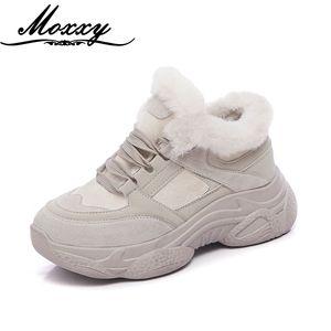 Moxxy Warm Fur Winter Sneakers For Women Casual Vulcanized Shoes Woman Beige Khaki Cozy Plush Dad Platform Sneakers Women 201201