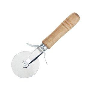 Круглый резак пиццы нож деревянной ручкой из нержавеющей стали Кондитерские изделия антипригарной Pizza Cutter колеса Slicer с Грип HHA1671