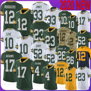 12 Aaron Rodgers 2020 New Football Jersey 10 Love 26 Darnell Savage JR 52 Rashan Gary 17 Adams 69 Bakhtiari 23 Alexandre 15 Starr 18 Cobb