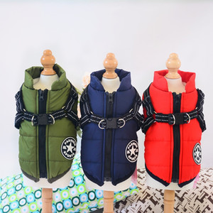 Dropship Winter Warm Dog Clothes Jacket With harness For Small Medium Dogs Waterproof Pet Coat Chihuahua Pug Teddy Outfits