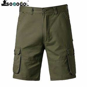 Soqoool Casual Summer Tactical Shorts Men Multi Pockets Army Cargo Shorts Cotton Breathable Stretch Short Pants l41z#