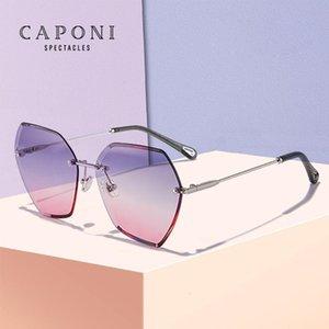 Caponi Polígono Polígono Sol Nuevos Accesorios de Moda Lentes Cortas Gafas Ojo Lady 2020 Mujer Gafas de Sol CP31258
