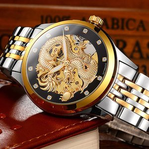 Business Mechanical Watches Mens Skeleton Tourbillon Automatic Watch Men Gold Stainless Steel Waterproof Relojes Hombre