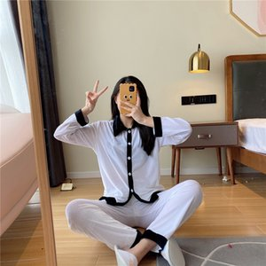 INS Velvet Pajamas 2021 New Black White Women Luxury Sleepwear Winter White Long Sleeve Velvet Women Home Pajamas Designer #251#5170099