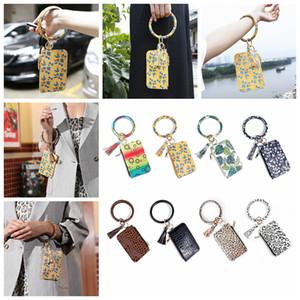 Women Fashion Floral Leopard Leather Bracelet Keychain Credit Card Wallet O Key Rings with Tassel Wristbands Clutch Purse CYZ2838 80Pcs