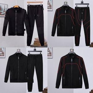 Hoodies + calças 2 conjuntos de peças masculinas Fatos preto sólido Suits sweatshirt homem Cor Outfit alta qualidade casacos casaco Zipper Slim Fit Fatos