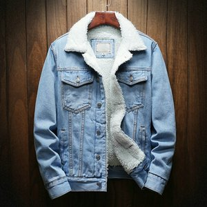 Dropshipping Streetwear Men Jacket And Coat Warm Fleece Denim Jacket Winter Fashion Mens Jean Jacket Outwear Male Plus Size