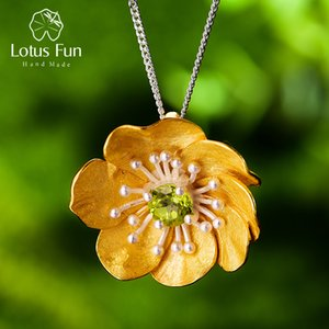Lotus Fun Blooming Anemone Flower Pendant without Necklace Real 925 Sterling Silver Handmade Designer Fine Jewelry for Women LJ201016