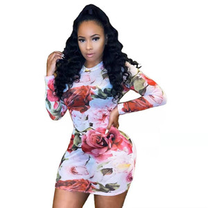 Bodycon Dress Flower Printed Mini Dresses Girls Long Sleeve Skirt Crew Neck Dress for Summer Party Casual