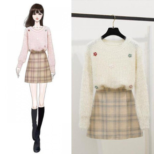 Women 2020 Spring Autumn Sweet Suits Female Flower Knitted Pullover Sweater + Plaid Mini Skirts Sets Casual Two Pieces Set N3431