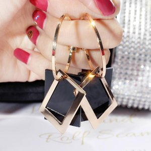 Fashion exaggerated striped geometric metal rectangle big earrings Occident Korean style Joker jewelry1
