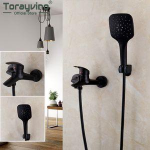 Torayvino Bathroom Bathtub Shower Faucet Set Black Wall Mount Rainfall Shower Head 2 Functions 1 Handle Shower Faucets Mixer Tap 1011