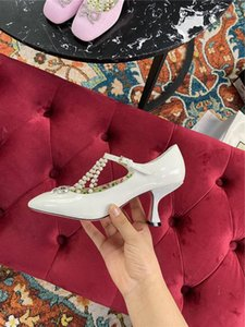 New style wrinkled lacquered pearl heel shoes, water diamond bow tie round head lace-up high-heeled leather shoes